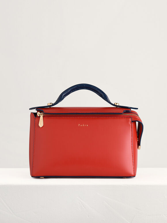 Structured Bowling Bag in Two-Tone, Red, hi-res