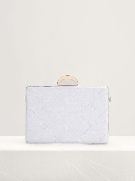 Quilt Boxy Clutch, White, hi-res