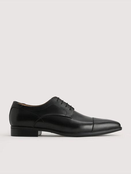 Leather Derby Shoes, Black, hi-res