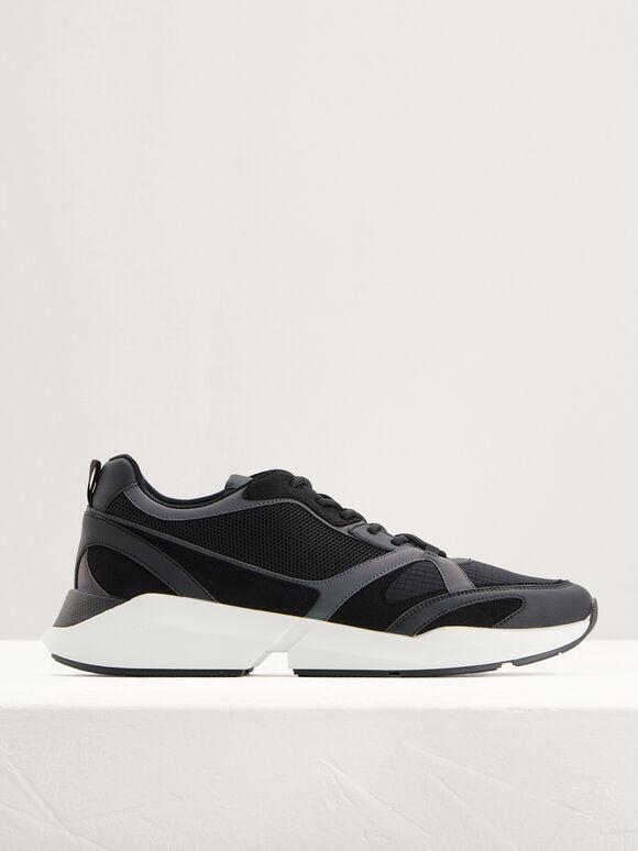 Suede and Mesh Sneakers, Black, hi-res