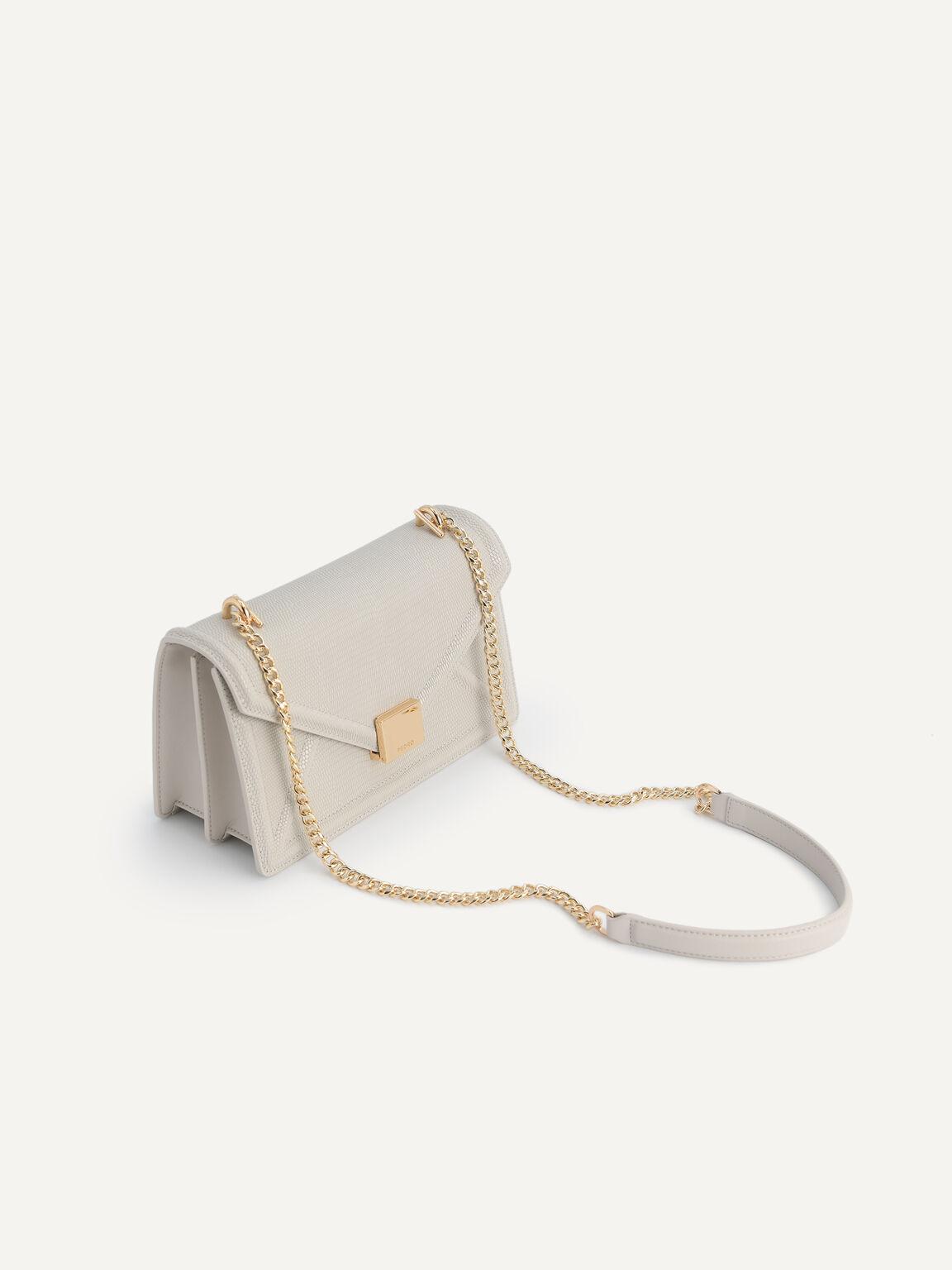 Lizard-Effect Leather Envelope Shoulder Bag, Taupe, hi-res