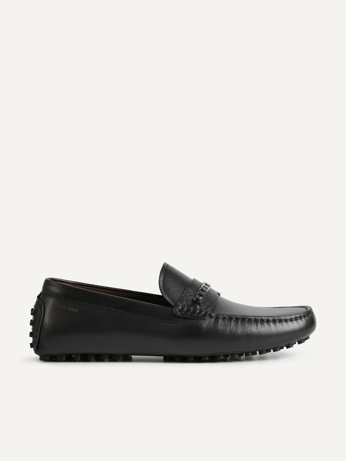 Icon leather Moccasins, Black, hi-res