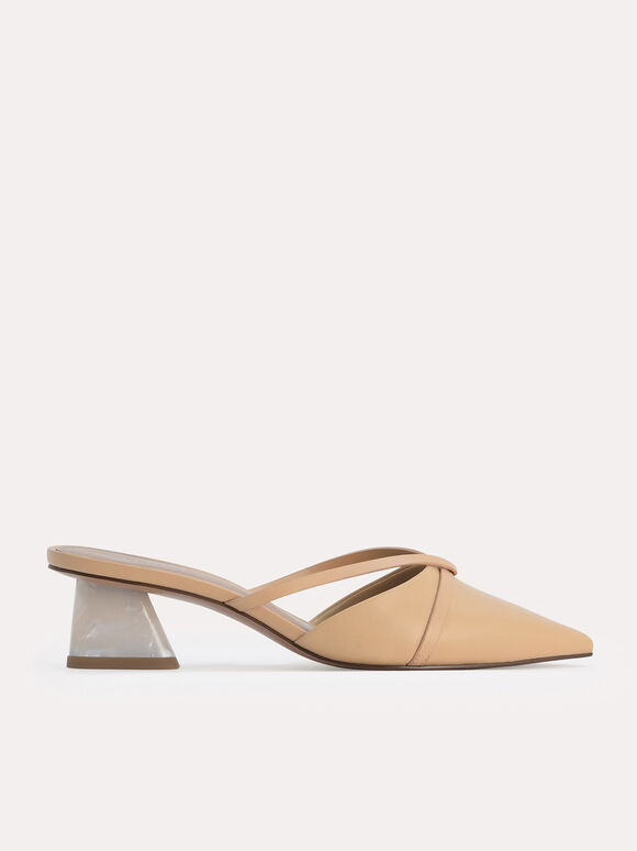 Leather Pointed Heeled Mules, Sand, hi-res