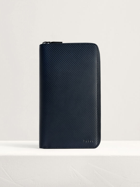 Leather Travel Organizer, Navy, hi-res