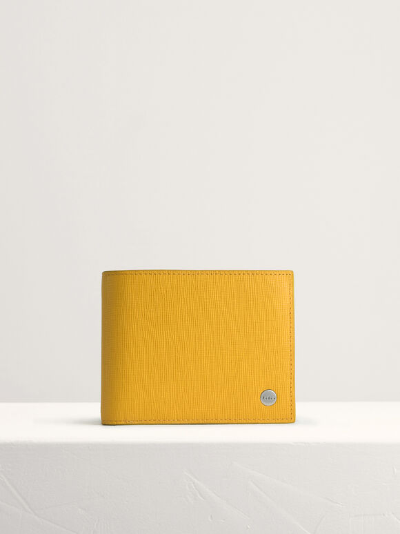 Leather Bi-Fold Wallet with Insert, Mustard, hi-res