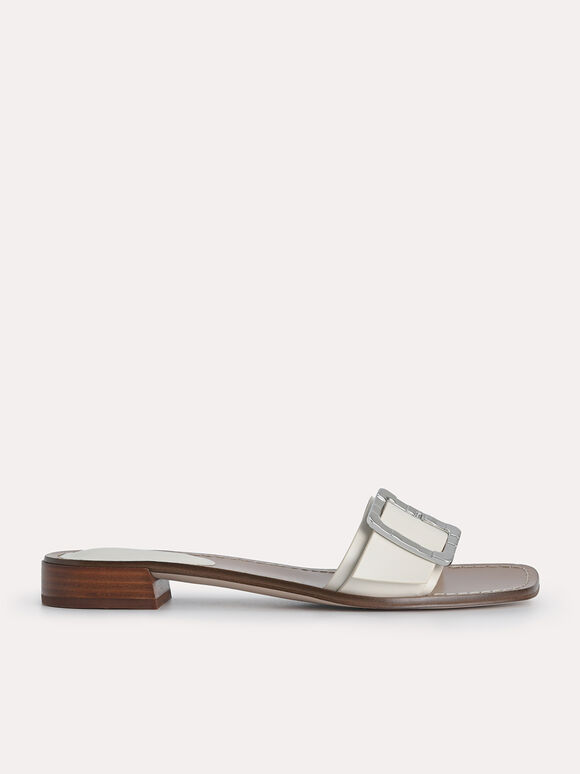Casual Buckle Sandals, Chalk, hi-res