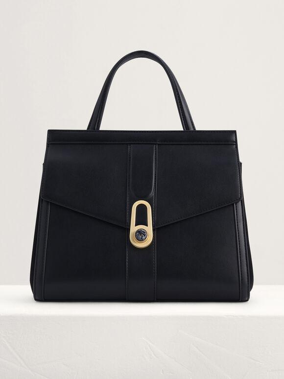 Top Handle Bag with Precious Stone Detailing, Black, hi-res