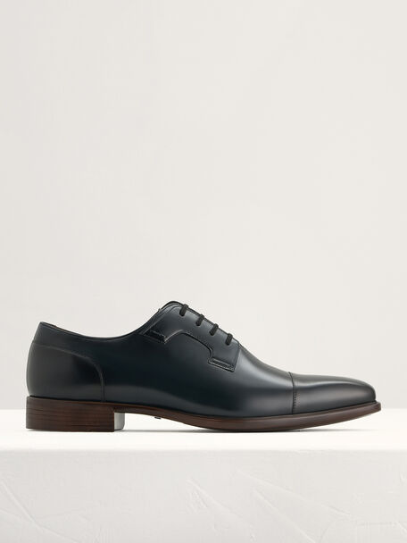 Pointed Toe Leather Derby Shoes, Navy, hi-res