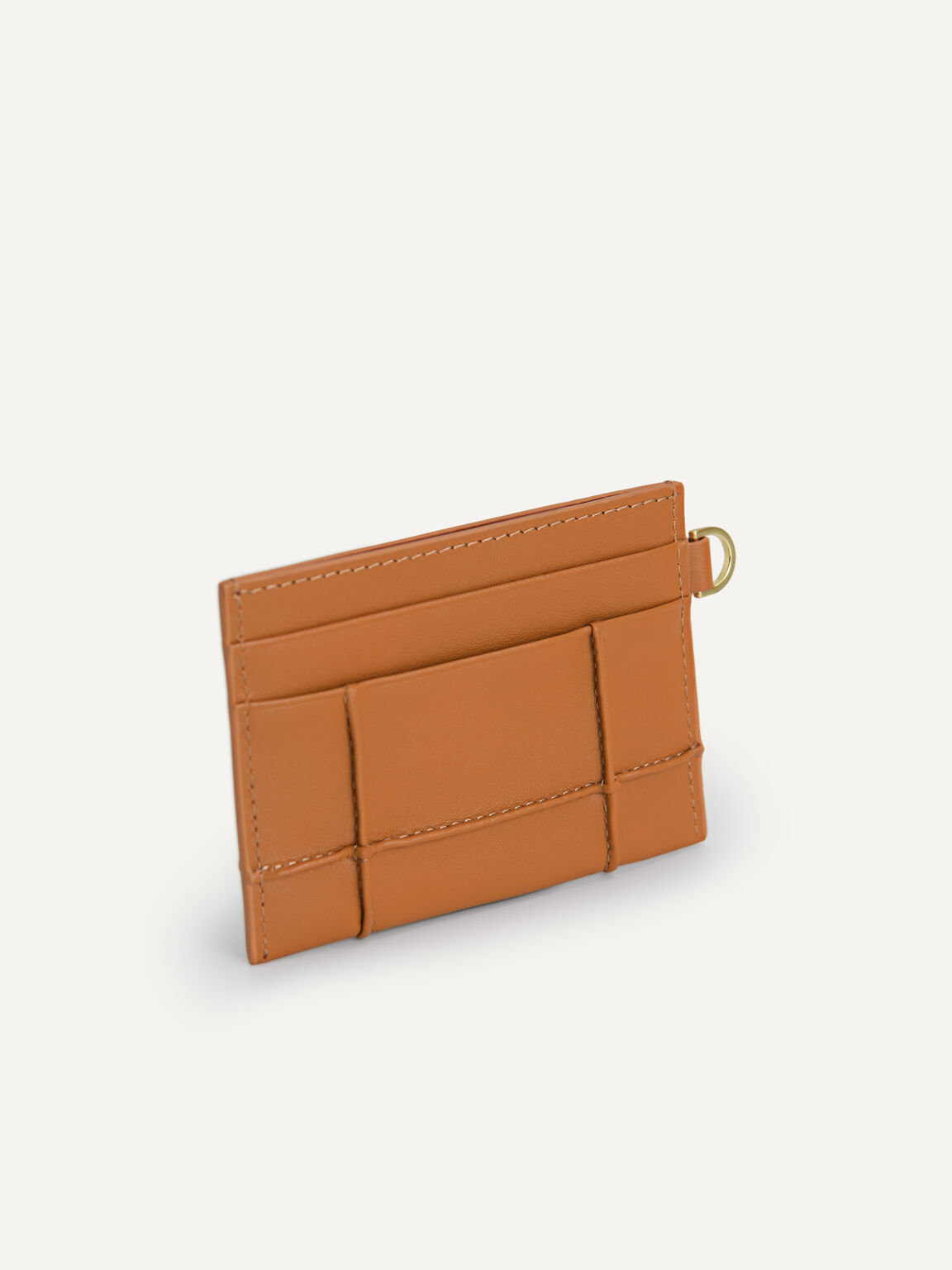 Leather Card Holder, Orange, hi-res