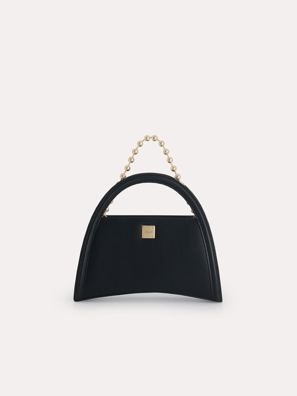 Mini Leather Shoulder Bag, Black, hi-res