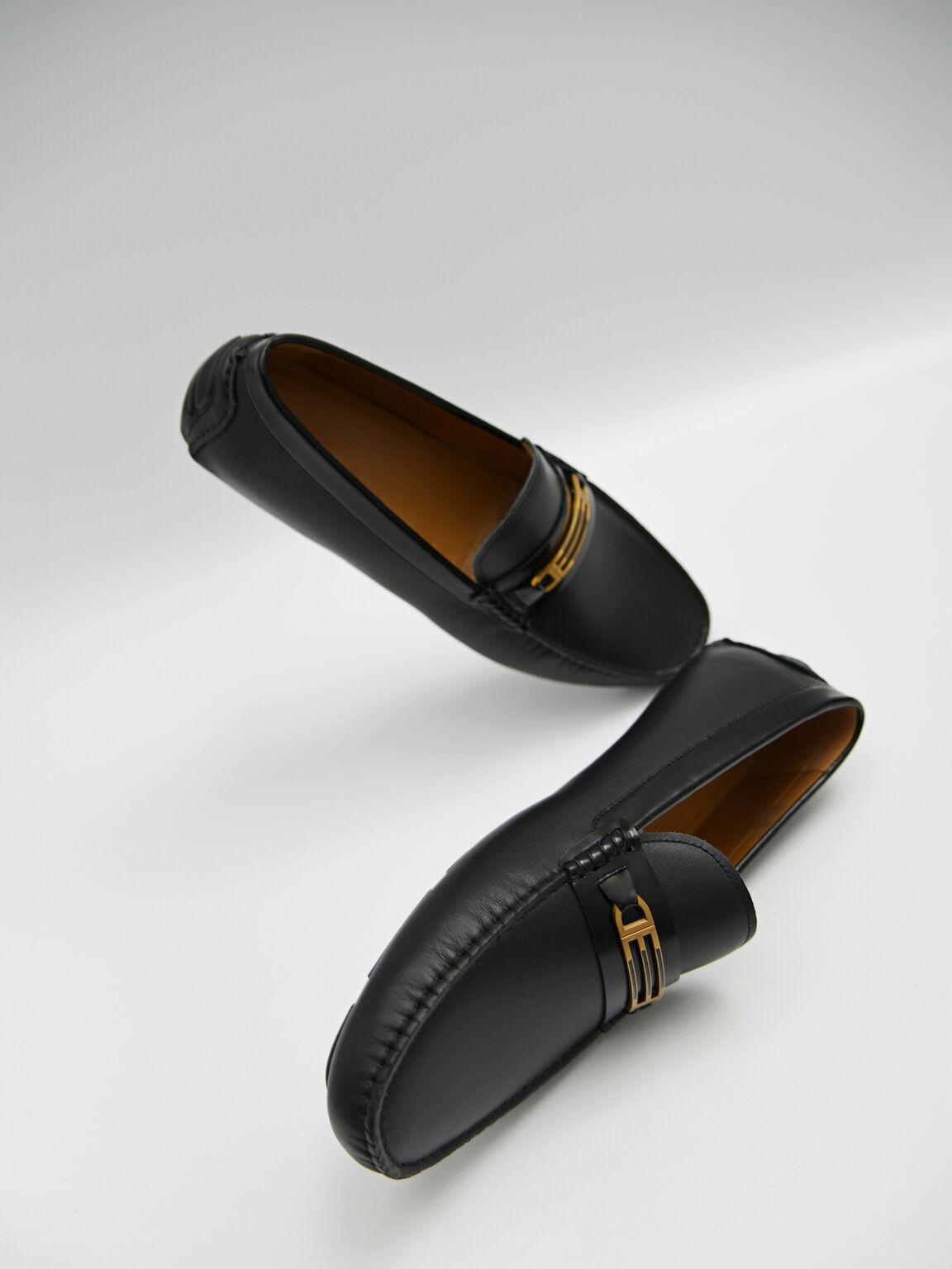 Leather Moccasins with Gold Bit, Black, hi-res