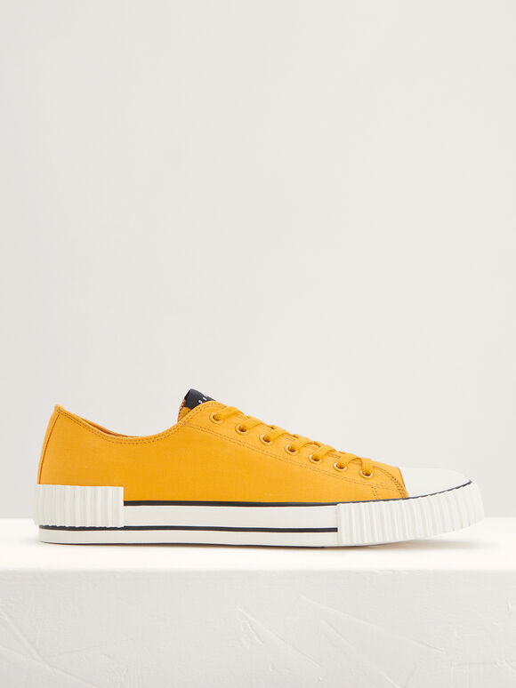 Casual Canvas Sneakers, Mustard, hi-res