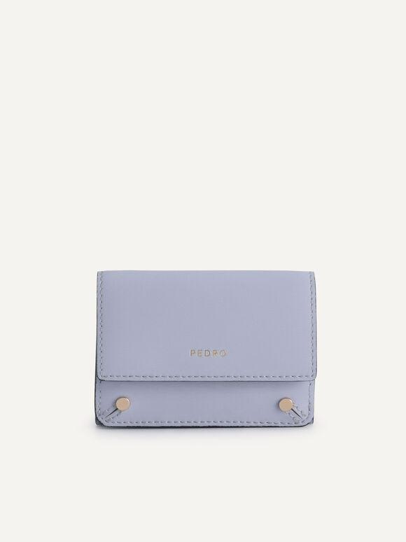 織紋三折疊皮革錢包, 丁香花色, hi-res