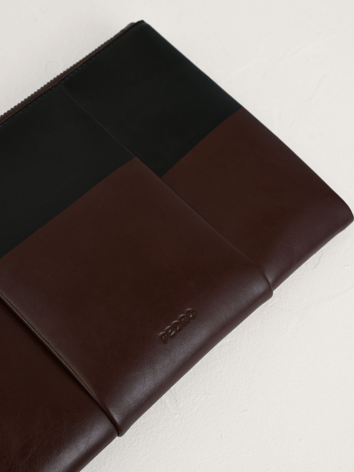 Casual Two-Tone Clutch, Dark Brown, hi-res