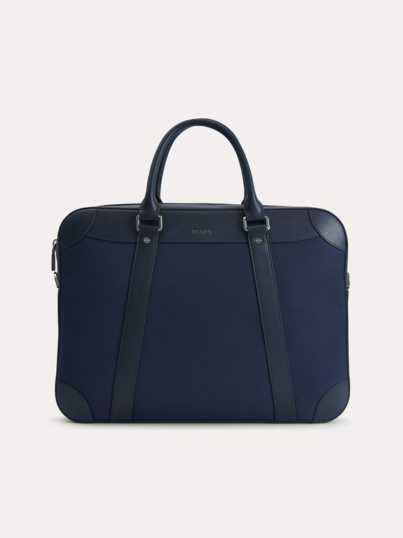 Textured Briefcase, Navy, hi-res