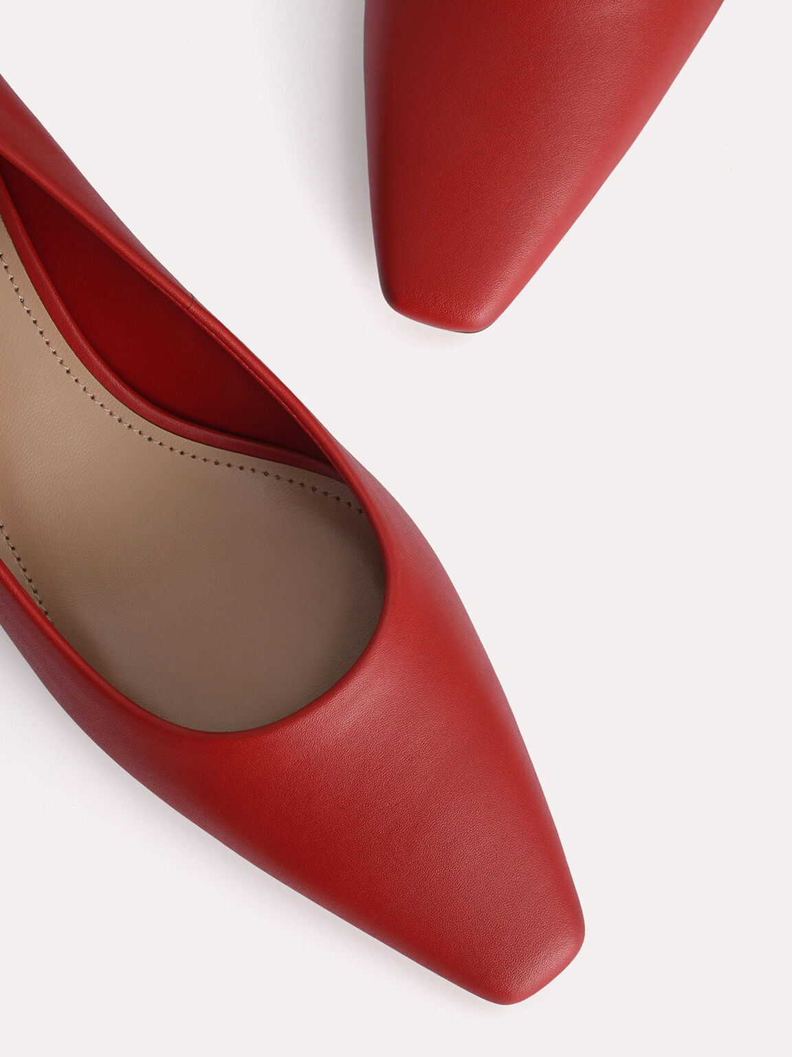 Square-Toe Leather Pumps, Red, hi-res