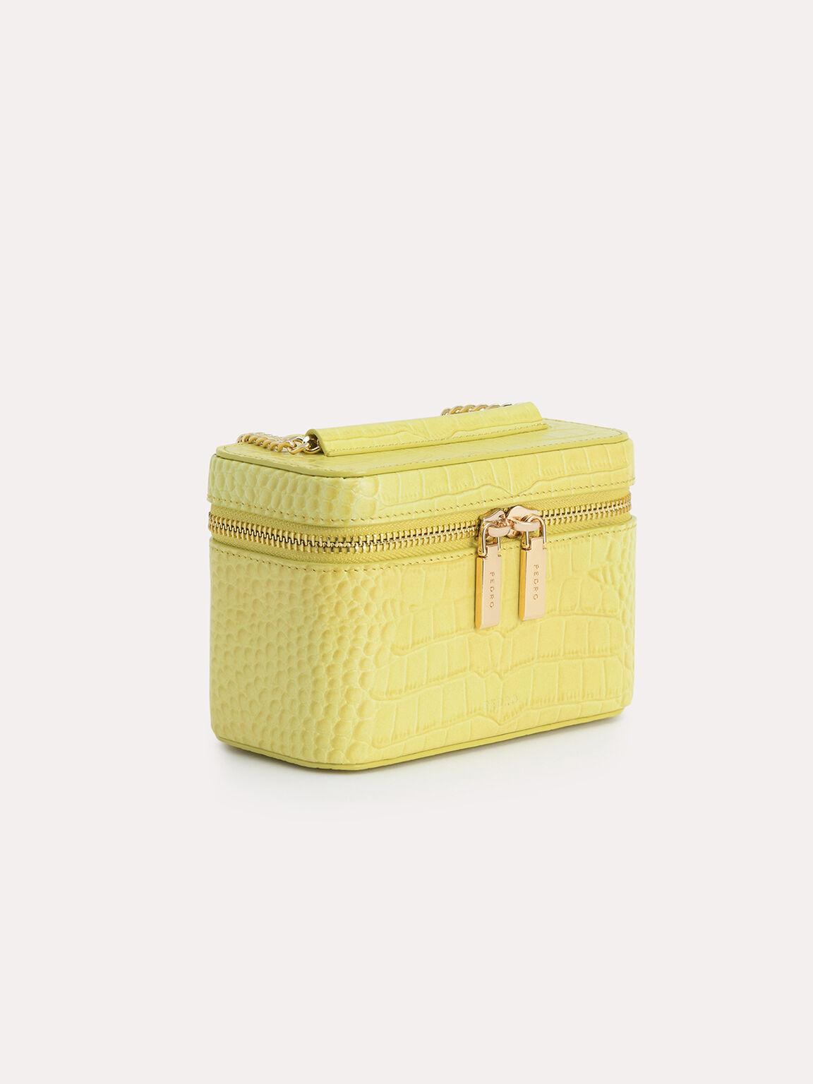 Textured Leather Vanity Case, Yellow, hi-res