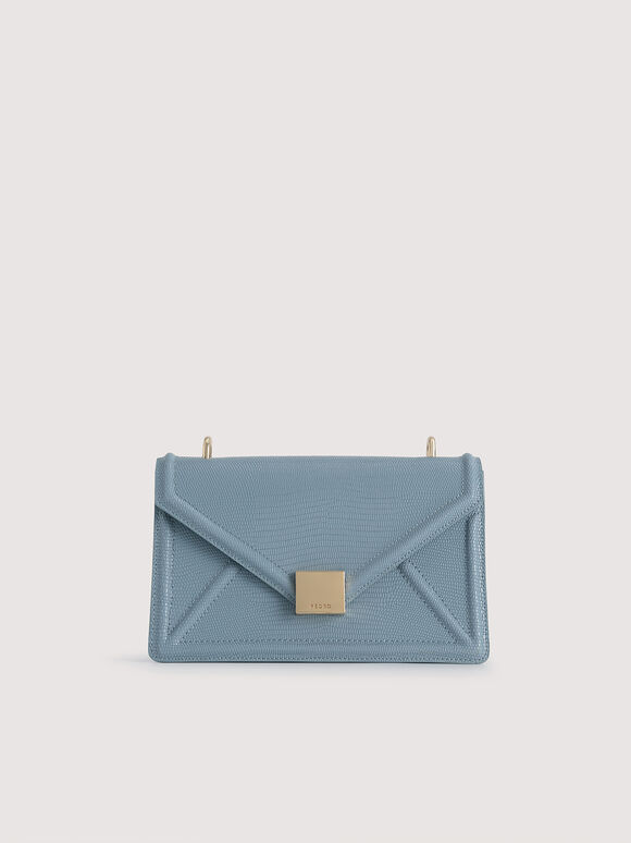 Lizard-Effect Leather Envelope Shoulder Bag, Blue, hi-res