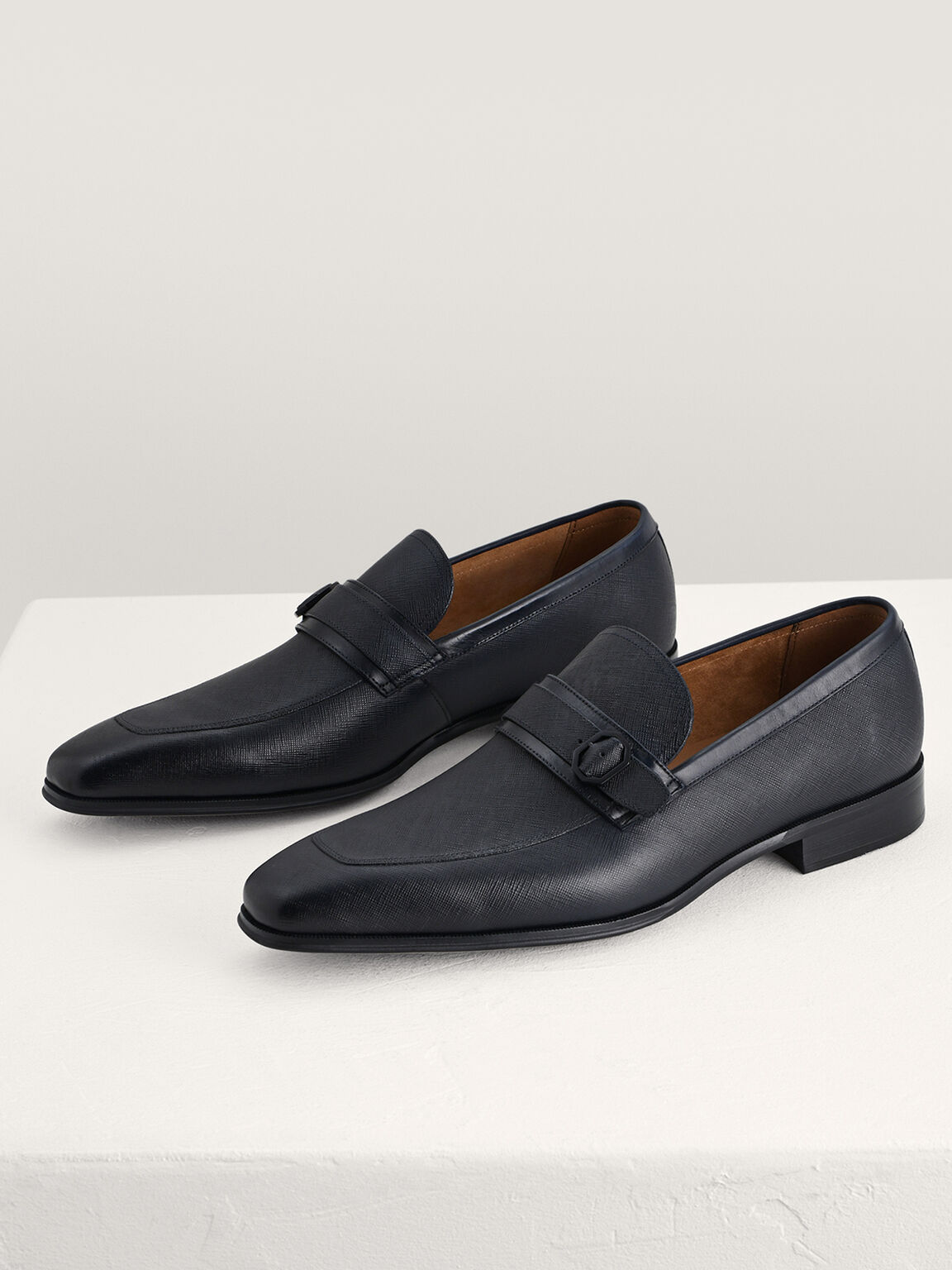 Buckled Leather Loafers, Navy, hi-res