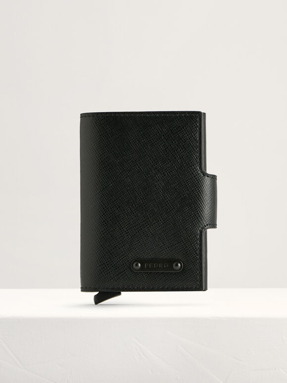Leather Bi-Fold Card Holder, Black, hi-res