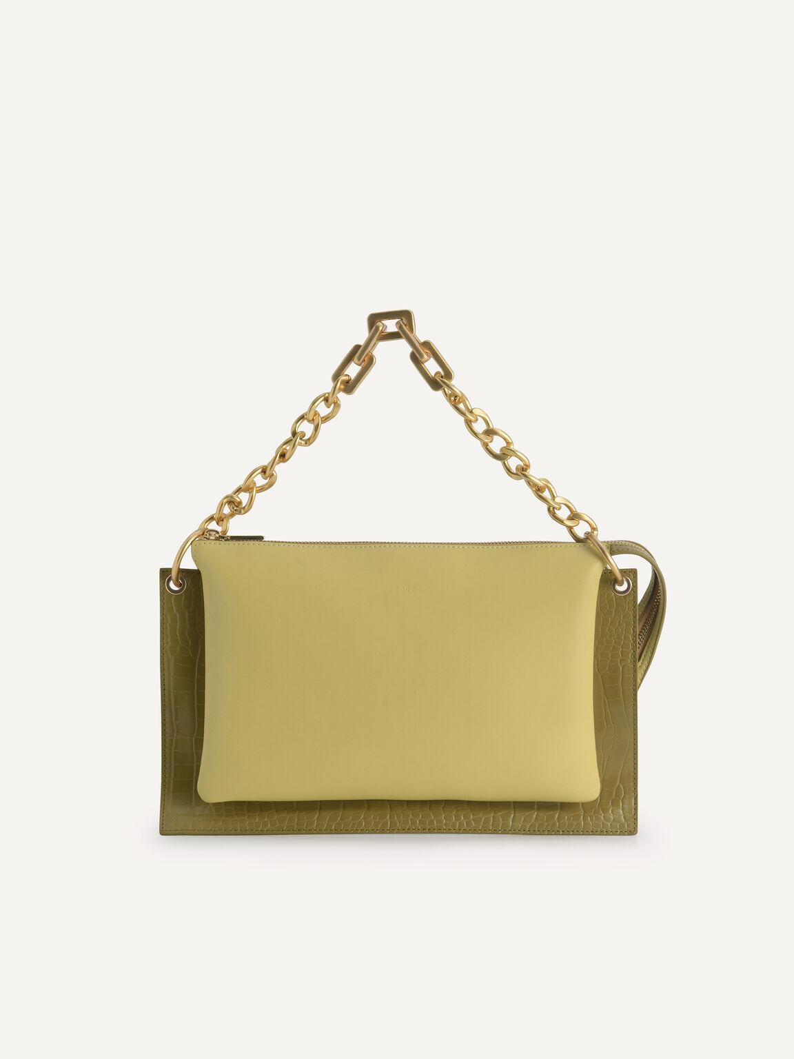 Chain Handle Shoulder Bag, Light Green, hi-res