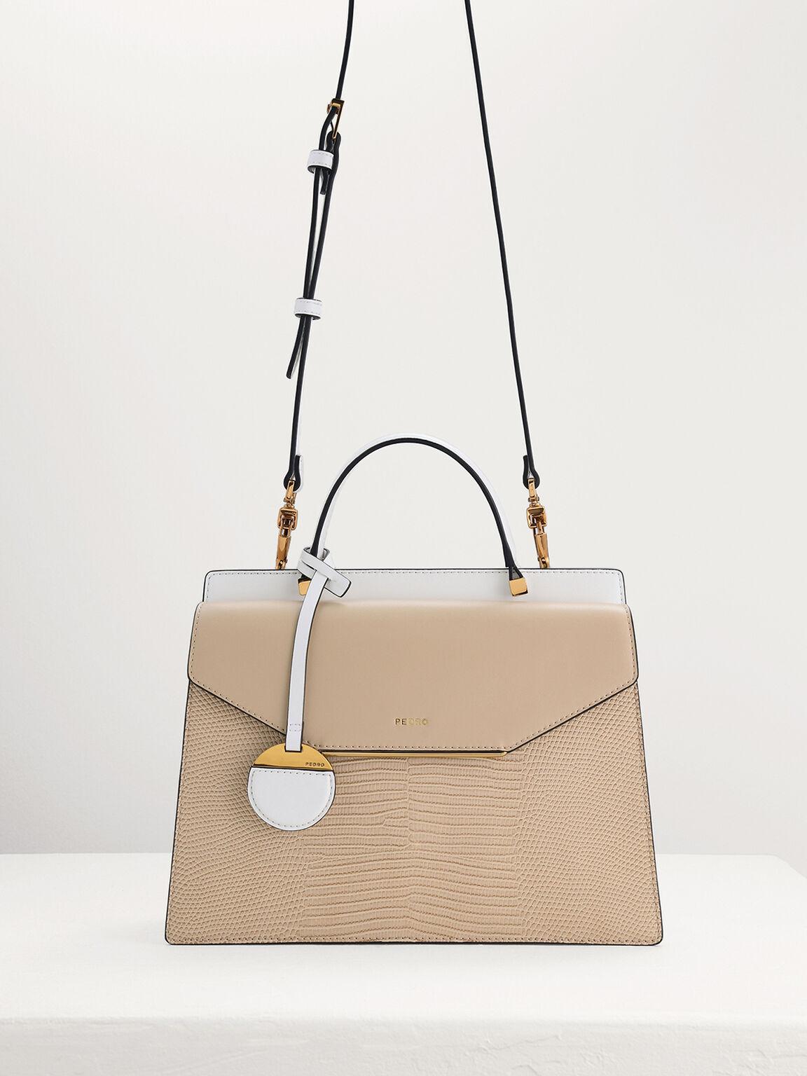 Lizard-Effect Structured Top Handle Bag, Beige, hi-res