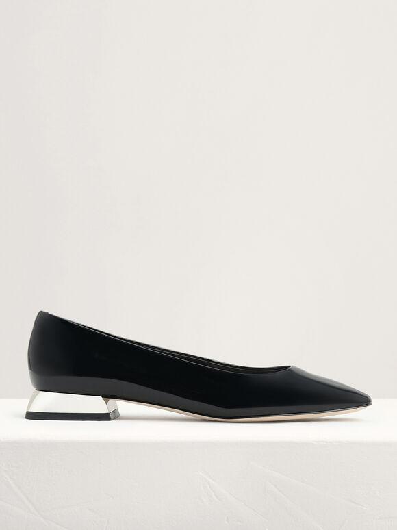Mirror-Effect Patent Leather Ballerina Flats, Black, hi-res
