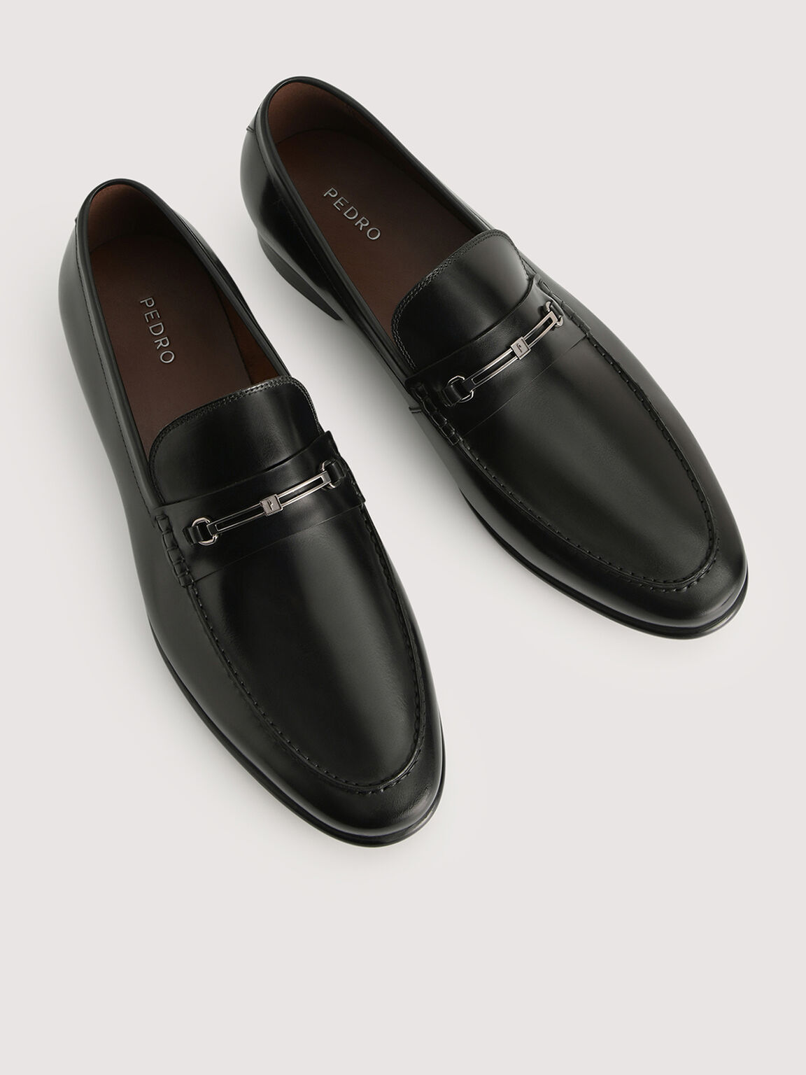 Leather Loafers with Silver Buckle, Black, hi-res