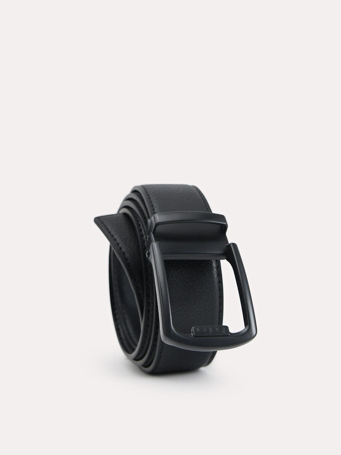 Textured Leather Tang Belt, Black, hi-res