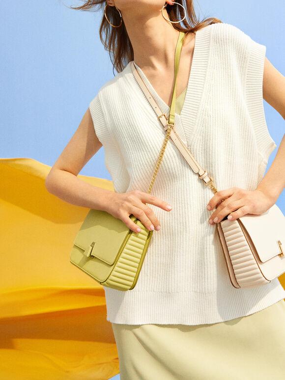Structured Shoulder Bag, Light Green, hi-res