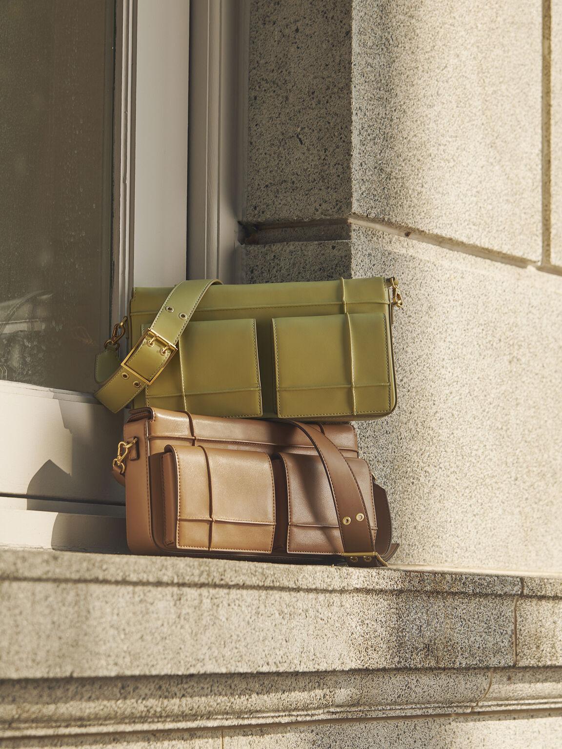 Utility Structured Shoulder Bag, Brown, hi-res