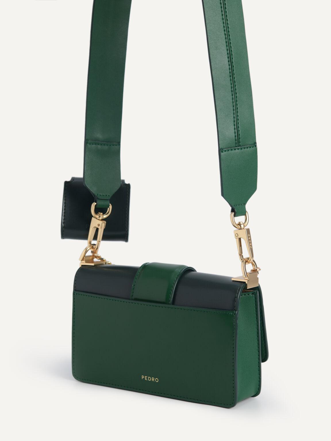 Icon Leather Shoulder Bag, Green, hi-res