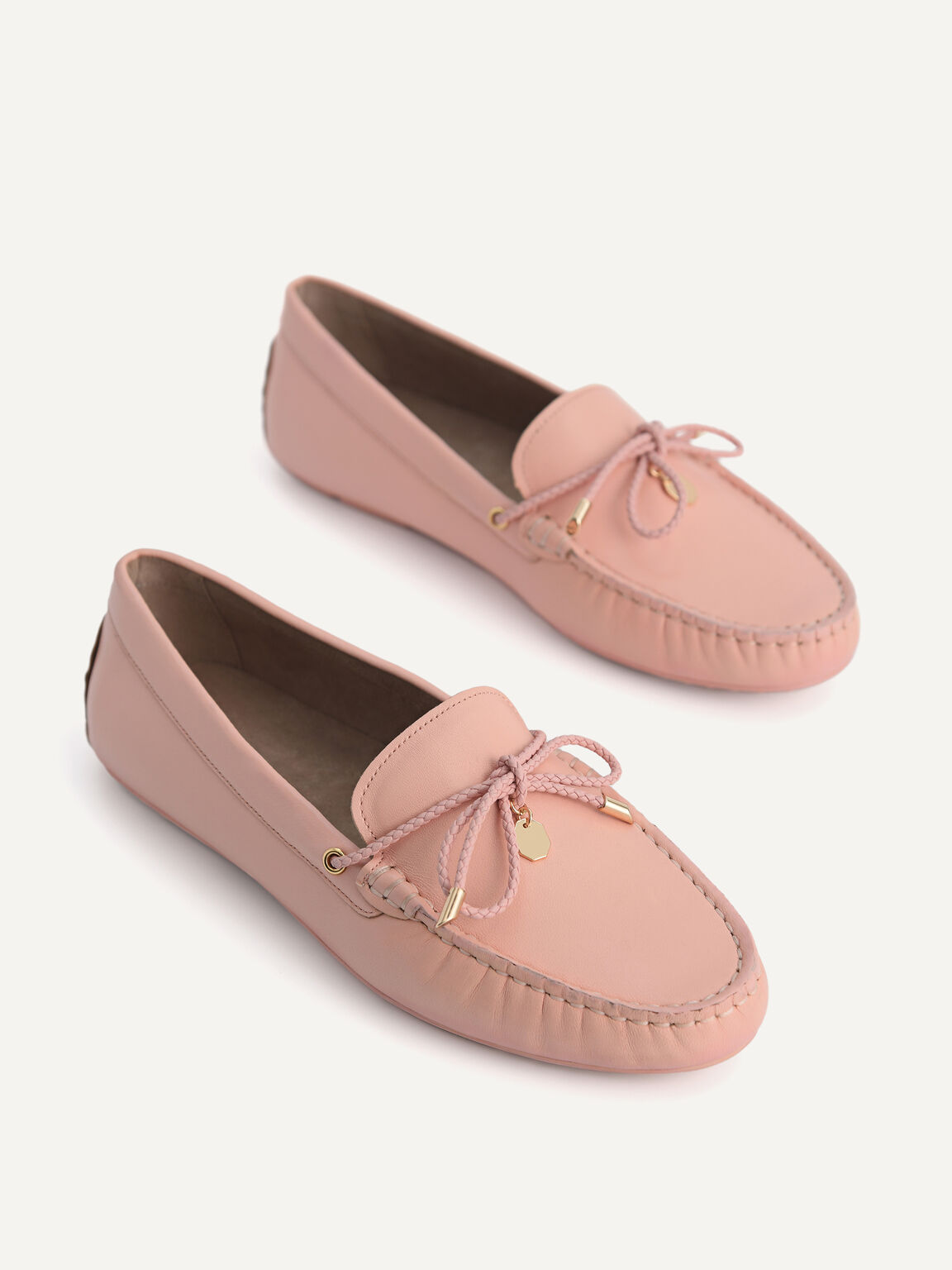 Leather Bow Moccasins, Blush, hi-res