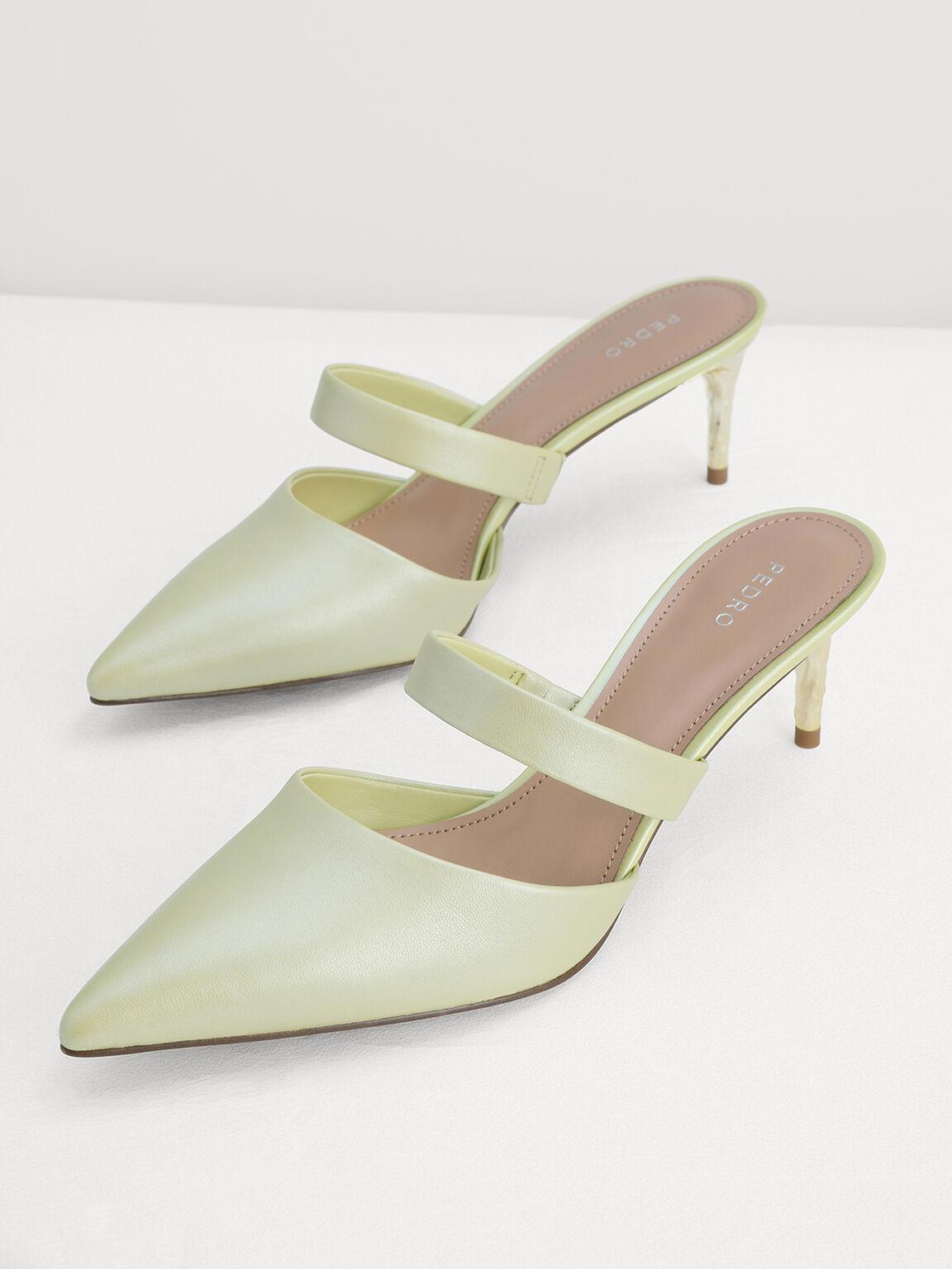 Pearlised Leather Slip-On Heels, Light Green, hi-res