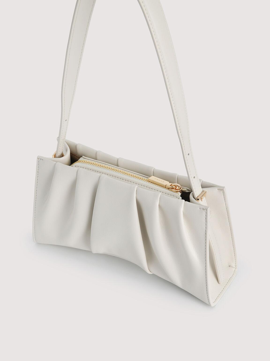 Ruched Shoulder Bag, White, hi-res