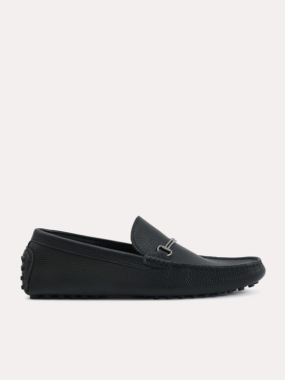 Textured Leather Moccasins with Bit Detailing, Black, hi-res