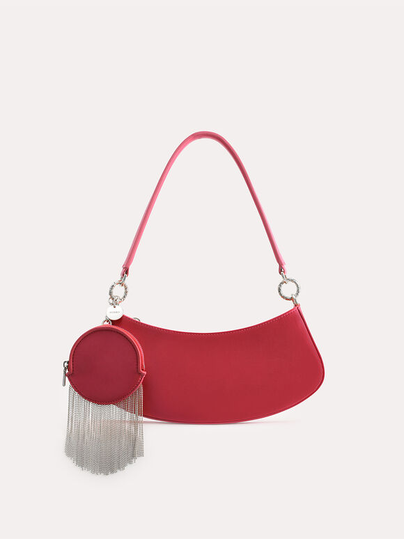 Satin Shoulder Bag, Coral, hi-res