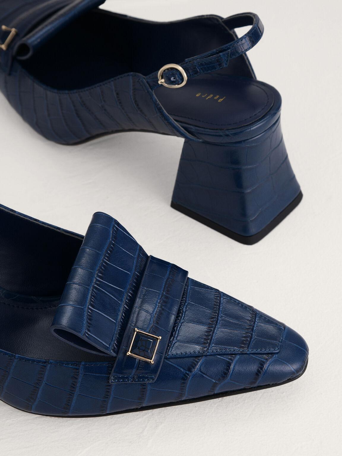 Croc-Effect Leather Slingback Pumps, Navy, hi-res