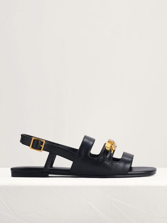 Gold Embellished Slingback Sandals, Black, hi-res