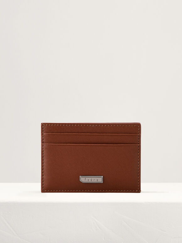 Flat Leather Card Holder, Cognac, hi-res