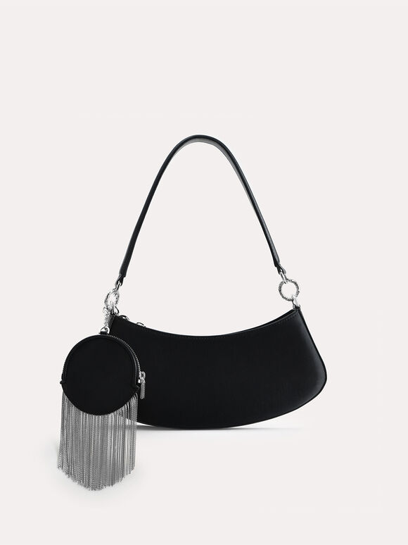 Satin Shoulder Bag, Black, hi-res