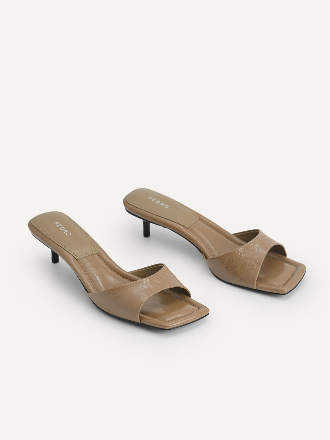 Chain-Strap Leather Heeled Sandals, Taupe, hi-res