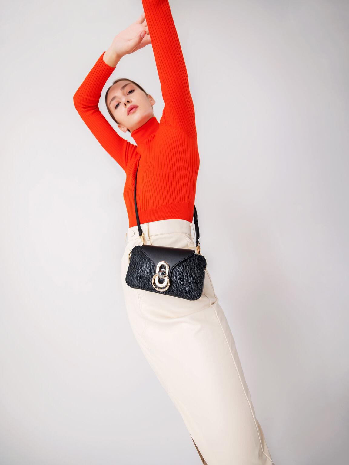 Mini Textured Leather Shoulder Bag, Black, hi-res