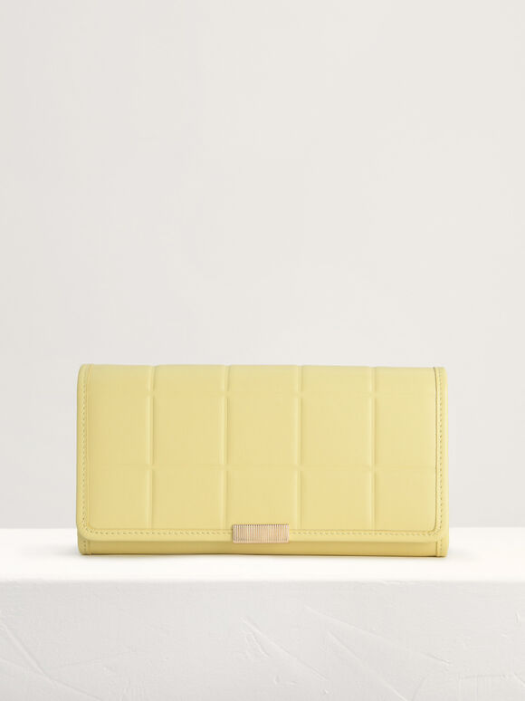 Qulited Long Leather Wallet on Chain, Yellow, hi-res