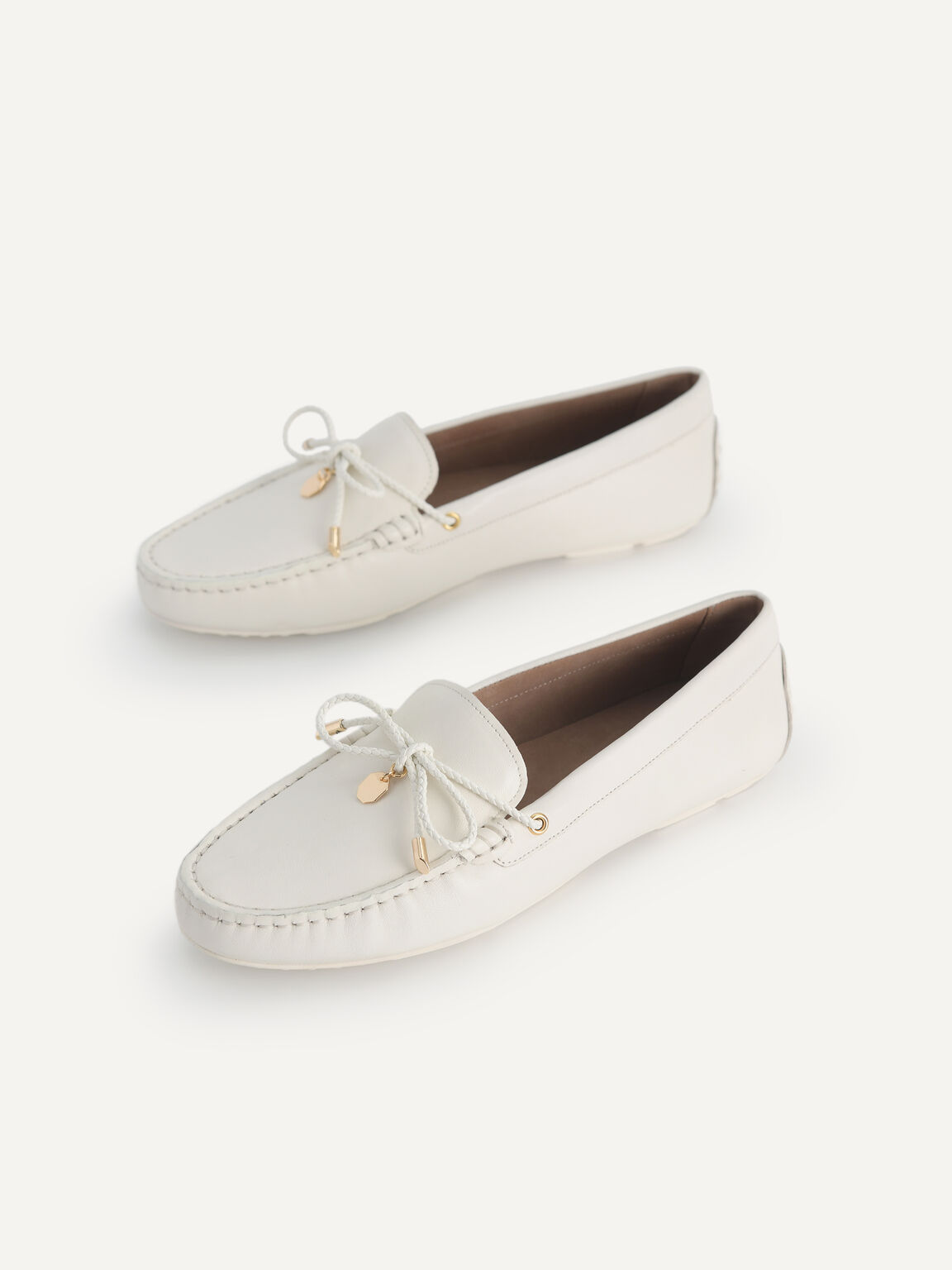 Leather Bow Moccasins, Chalk, hi-res
