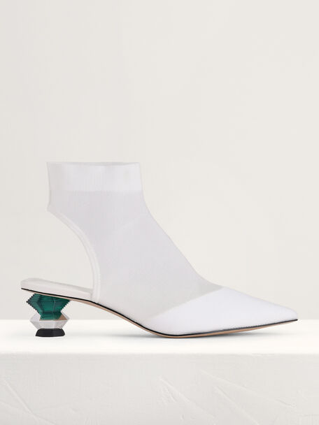 Ankle Mesh Sock Boots with Decorative Heel, White, hi-res