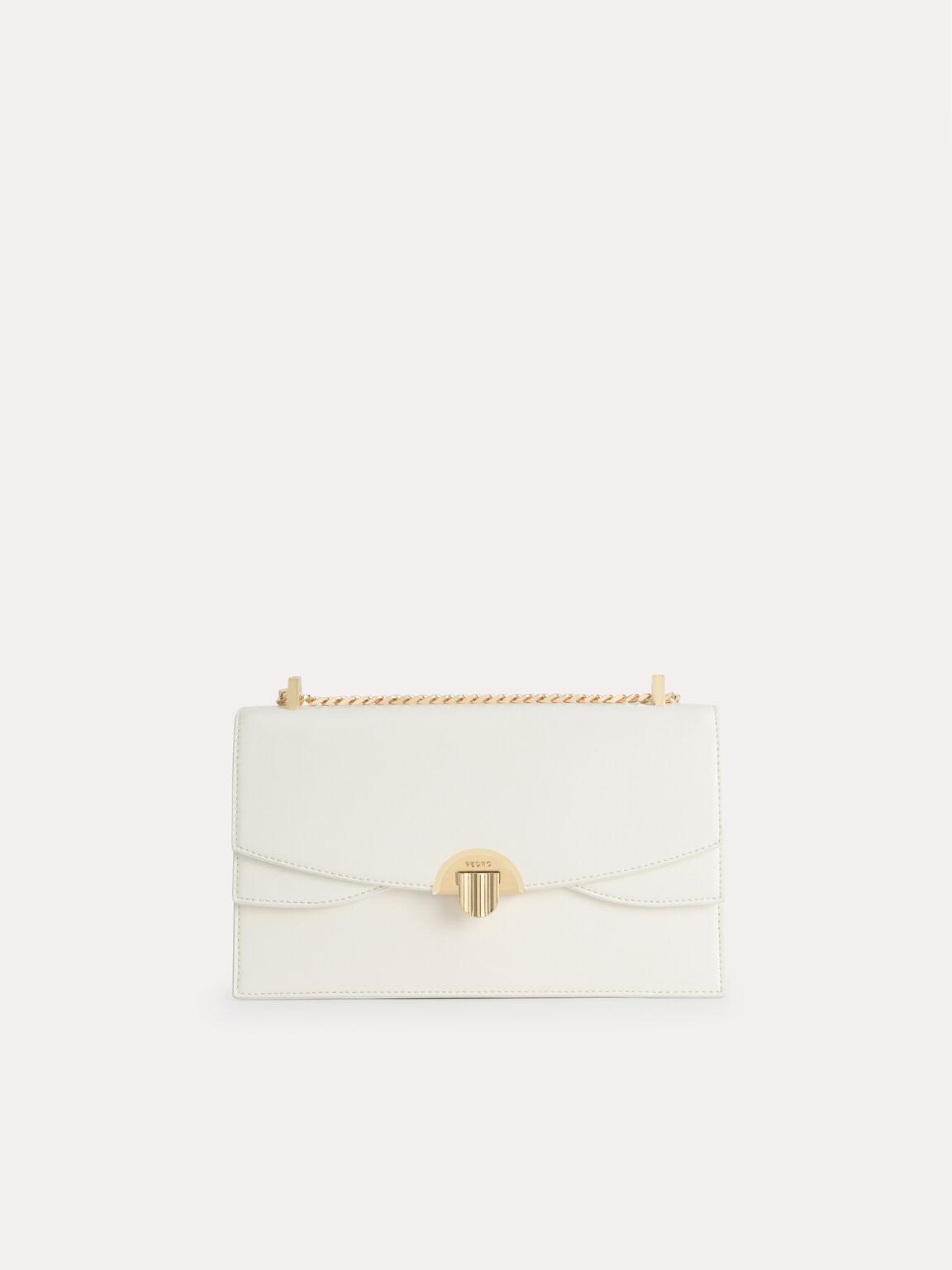 Shoulder Bag with Curved Flap, Chalk, hi-res