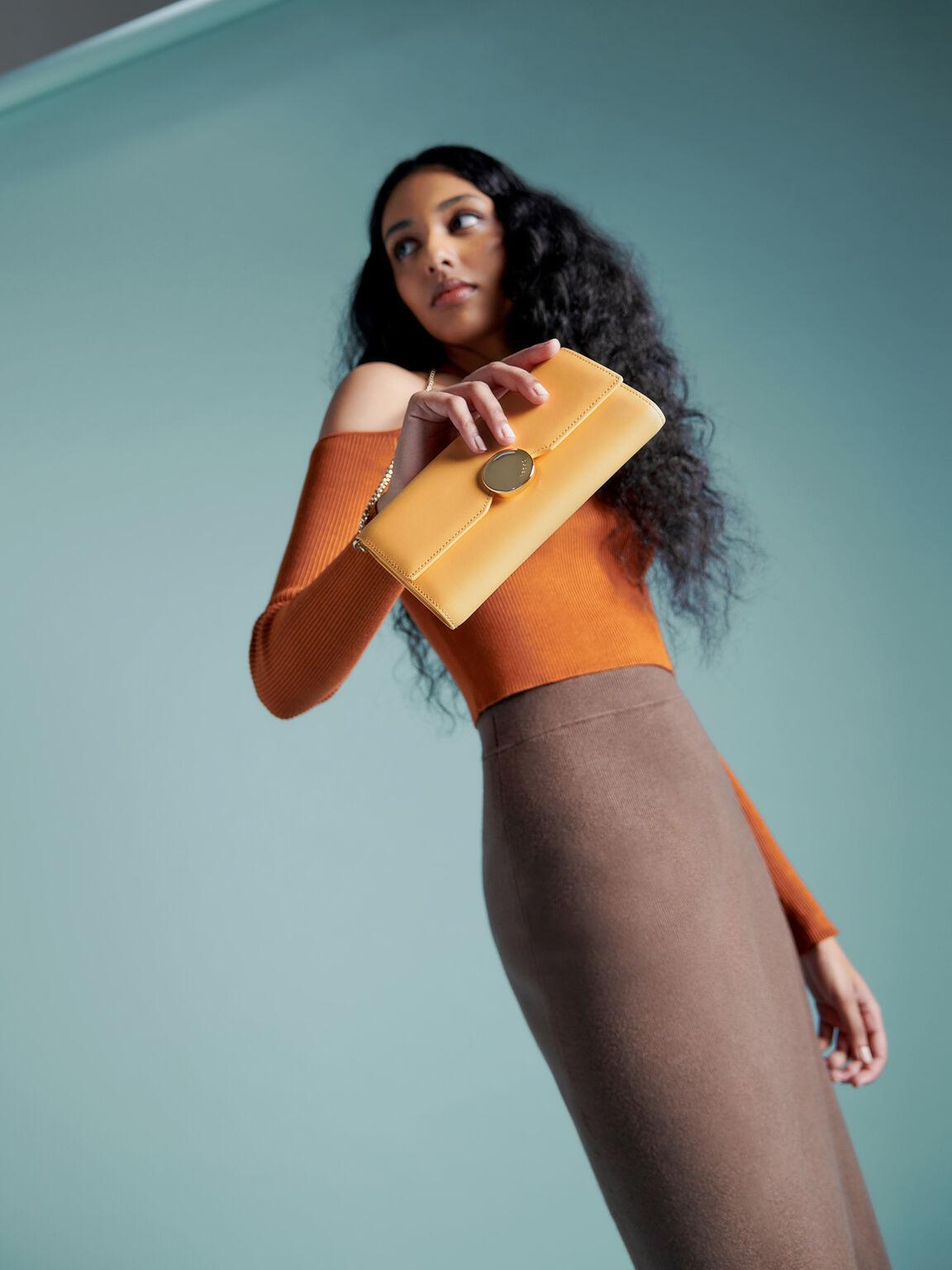 Long Leather Bi-Fold Wallet, Yellow, hi-res