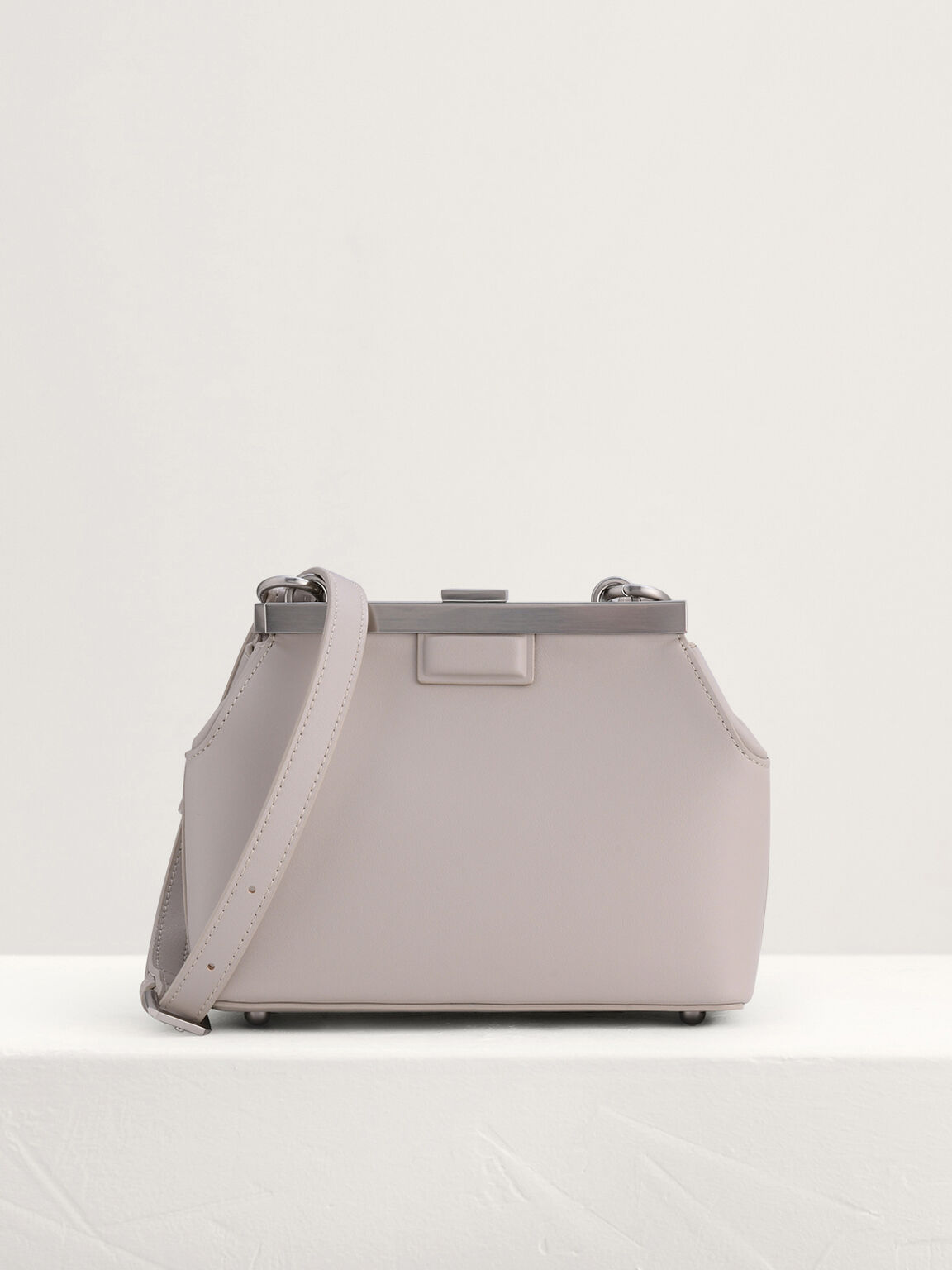Frosted Chain Handle Bag, Taupe, hi-res