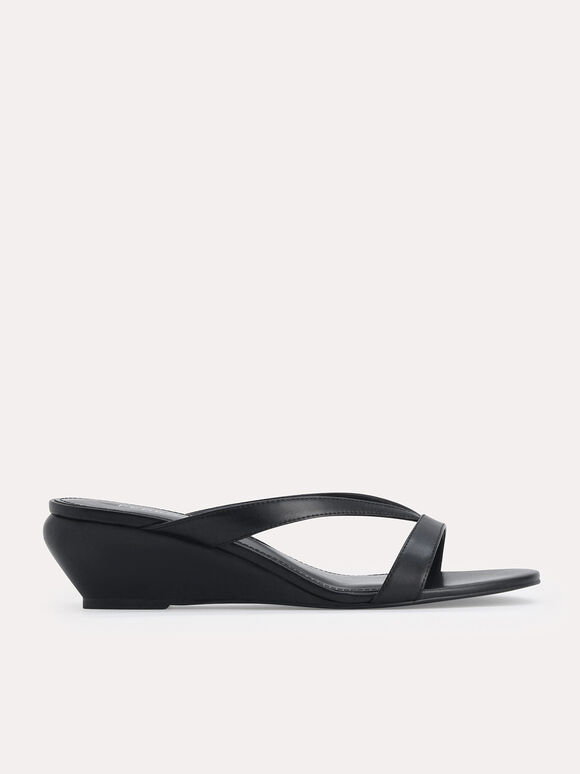 Strappy Slip-On Wedges, Black, hi-res